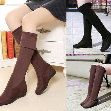 Womens Stylish Long Casual Wedge Boots