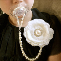 4 in 1 Ivory Pearl Pacifier Jewelry Clip