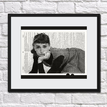 AUDREY HEPBURN Dictionary Art Print Hollywood Breakfast Tiffanys Upcycled Movie Home Decor Audrey Hepburn Photo Audrey Hepburn Wall Decor