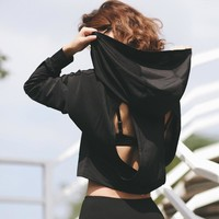 spring cropped hoodie hooded jacket female fitness shirt crop sweatshirt backless open back loose hole hollow out tracksuit T619