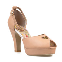 Nude Leather Peep Toe Cut Out Lovestruck d'Orsay Pumps
