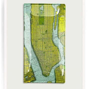 Vintage New York City Ferry Map No. 1 Decoupage Glass Tray