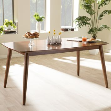 "Baxton Studio Flora Mid-Century Modern ""Oak"" Medium Brown Finishing Wood Dining Table Set of 1"