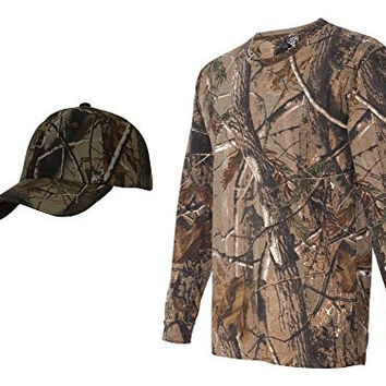 Realtree Camouflage Long Sleeve Shirt + Upscale Camo Hat, AP M