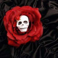 Lady of the Dead Rose Hair Comb in Red