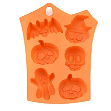 Halloween cake decorating 6 hole pumpkin ghost skull bat chocolate  cake silicone mould Ice Tray mold