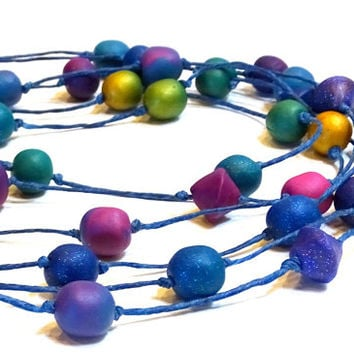 Just for fun, colorful beaded long rope necklaces