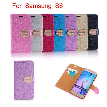 Luxury Glitter Diamond PU Wallet Leather Case For Sumsung Galaxy S6 Samsung G9200 Bling Flip Buckle Stand Card Holder