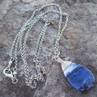 Sodalite Gemstone Teardrop Pendant Necklace - Silver Chain Necklace