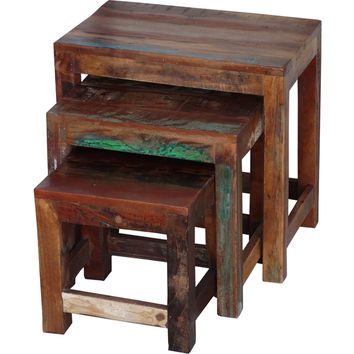 Timbergirl Reclaimed Wood 3-piece Nesting Tables (India) | Overstock.com Shopping - The Best Deals on Coffee, Sofa & End Tables