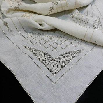 Italian Linen Embroidered Tablecloth Napkin Set, Filet Lace & Drawn Work, Ivory with Taupe Embroidery, Bridge Set, Vintage Linens