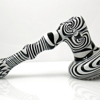 Psychedelic Zebra Hammer Pipe - Trippy White and Black Wig Wag Glass Smoking Bowl