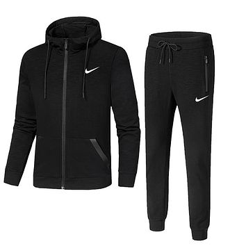 NIKE winter new men's warm sports running clothes two-piece Black