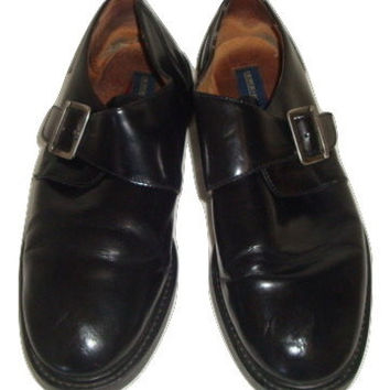 vintage Giorgio Brutini leather monk strap black brogues loafers shoes side buckle hipster MEN size 12 us 46