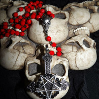 Inverted Crucifix Cross Pentagram Rosary Necklace Satanic Occult Black Crystals from Cognitive Fashioned