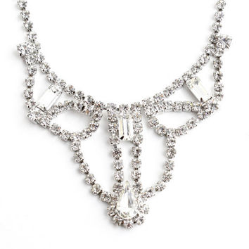 Vintage Rhinestone Necklace - Silver Tone Elengant Costume Jewelry / Fancy Faux Diamonds