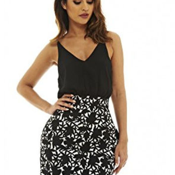 Black Sleeveless Top and Printed Skirt 2 in 1 Dress