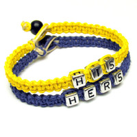 His Hers Bracelet Set for Couples, Dark Blue and Bright Yellow Macrame Hemp Jewelry, Valentines Day, Free North American Shipping