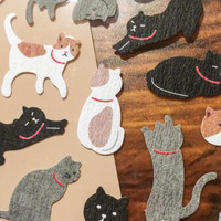 Japanese Cat Stickers - Traditional Textured Paper
