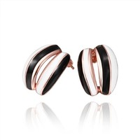 18K Rose Gold Plated Black and White Enamel Striped Leverback Stud Earrings