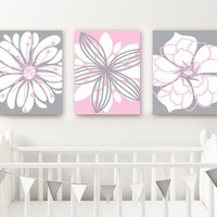 PINK GRAY Nursery Wall Art, Baby Girl Nursery Decor, Flower Girl Bedroom Wall Decor, Flower Wall Art, Above Crib CANVAS or Prints, Set of 3