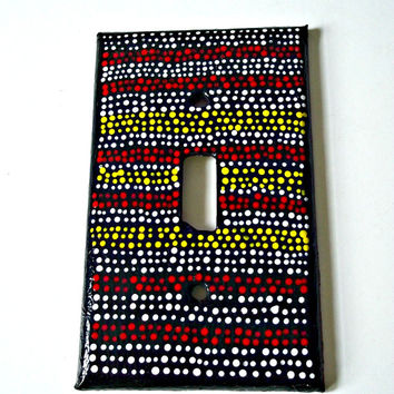 Hand Painted Switch Plate Cover - Single Toggle Switch Plate - Yellow, Red and White - Dot Painted