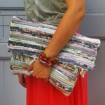 Ready to Ship Bohemian Kilim Clutch Bag - Silk Blend - Boho Laptop Sleeve Purse