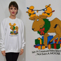 Ugly Christmas Sweater Sweatshirt 90s Moose XL Men Vintage Unisex Womens Clothing Tacky Xmas Animal 1990s White Oversize Shirt Jumper