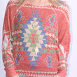 Mohican Sun Red Aztec Print Knit Top