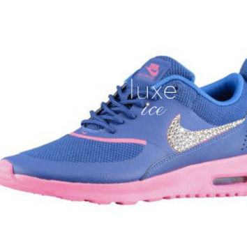 NEW Nike Air Max Thea w/SWAROVSKI ELEMENTS - Deep Royal Blue/Hyper Pink/Hyper Cobalt