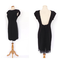 Vintage 1980s does 1960s Black Wiggle Dress Short Cocktail Dress Bombshell Mod 60s Sheath Dress Cape Dress Sexy Backless Party Dress Size 8