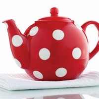 "Tag 550595 Polka Dot Teapot, 5.5 x 6.38 x 9.5"", Red"