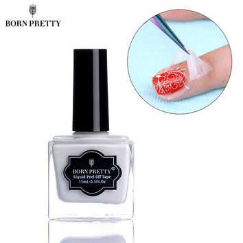 Born Pretty 15ml White Peel Off Liquid Tape Easy Clean Base Coat Nail Tape Finger Skin Protected Palisade Nail Art Latex #22612