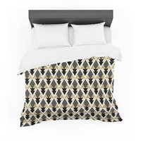 "Nika Martinez ""Glitter Triangles in Gold & Black"" Geometric Featherweight Duvet Cover"