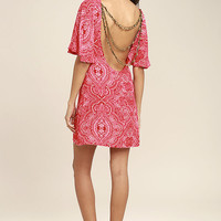 Start a Party Red Print Backless Shift Dress