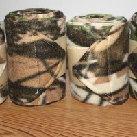 Set of four horse polo wraps, camouflage leg wraps, mossy oak horse leg wraps
