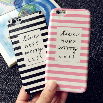 For iPhone 6S 7 Cases Dual Layer Black & Pink Stripe Phone Case For iPhone 6 Plus 7 Plus Heart Camera Window Soft TPU Back Cover