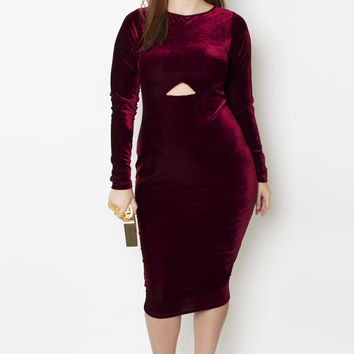 Grisel. Wine Velvet Cutout Dress *Pre-Sale* - Shop Women's Missy & Plus Size Clothing