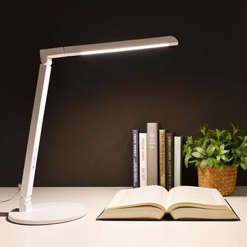 Modern Foldable LED Office Desk Lamp 5 Color Modes Touch Switch Dimmable Table Lamp for Work Reading Lights with Adjustable Arms