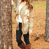 Scenic Route Cardigan: Mocha/Cream