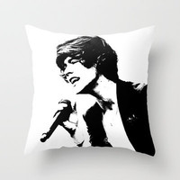 Harry Styles 1D Black & White Throw Pillow by Karl Wilson Photography
