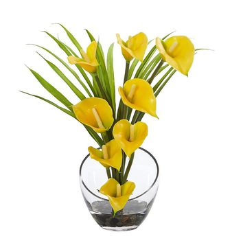 Silk Flowers -15.5 Inch Yellow Calla Lily And Grass In Vase Artificial Plant