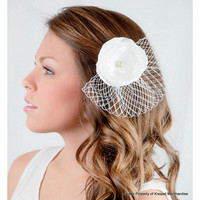 Ivory Bridal Clip,Flower Head Piece with Birdcage Veil,Flower Hair Accessory,Wedding Hair Clips