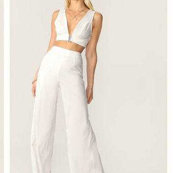Plunging Neck Top and High Waist Palazzo Pants Set