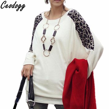 2018 Fashion Women T-shirts Spring Autumn Cotton Long Sleeve Ladies Leopard Loose Casual Tees Plus Size Tops Female T Shirt