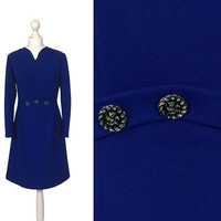 Cobalt Blue 60's Dress | UK 14 16 | Vintage 1960's Dress | Long Sleeves | A-Line Skirt | Mad Men Dress