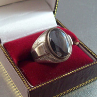 Vintage Sterling Ring, Bezel Set Faceted Hematite Size 8.5