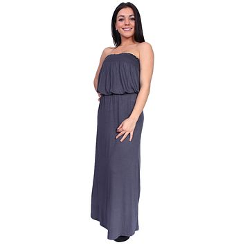 Women's smocked Tube Maxi Dress Long Full Length