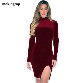mokingtop Velvet Vintage Dress Long Sleeve Slim Wine Red Bodycon Dress Warm Turtleneck Mini Dress Vestido Feminino#A11