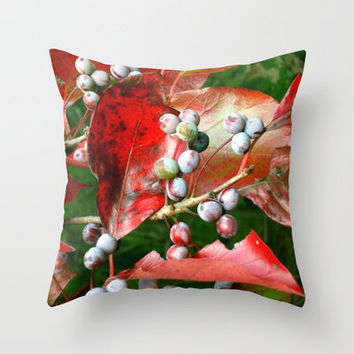 Fall Berries Throw Pillow by Stacy Frett